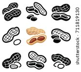 peanut icon collection   vector ... | Shutterstock .eps vector #711819130