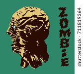 the terrible head of the zombie ... | Shutterstock .eps vector #711819364