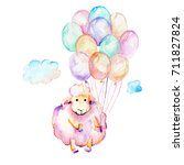 watercolor cute pink sheep  air ... | Shutterstock . vector #711827824