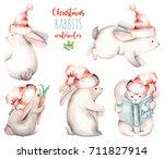 set of watercolor cute... | Shutterstock . vector #711827914