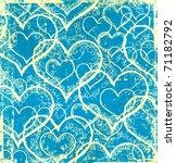 Grunge Blue Hearts Background