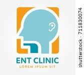 ent logo template. head for ear ... | Shutterstock .eps vector #711830074