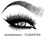 cat eye makeup | Shutterstock .eps vector #711839764