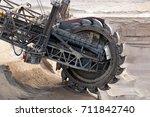 huge bucket wheel excavator... | Shutterstock . vector #711842740