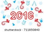 vector eps 10. xmas figures... | Shutterstock .eps vector #711850840