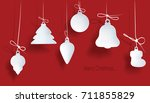 christmas toy on a red... | Shutterstock .eps vector #711855829