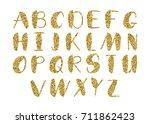 vector golden alphabet. unique... | Shutterstock .eps vector #711862423