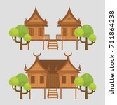 thai traditional house on grey... | Shutterstock .eps vector #711864238