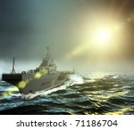three dimensional  warship at... | Shutterstock . vector #71186704
