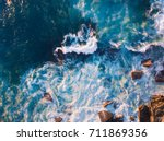 Aerial view of waves and some...
