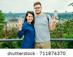 couple with old european city... | Shutterstock . vector #711876370