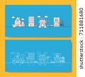 set of buildings cottage  house ...   Shutterstock .eps vector #711881680