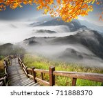 the imaging of mountain trail... | Shutterstock . vector #711888370