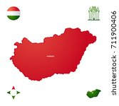 simple outline map of hungary | Shutterstock .eps vector #711900406