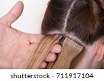 natural hair extensions at... | Shutterstock . vector #711917104