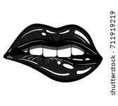 sexy black lips passionate...   Shutterstock .eps vector #711919219