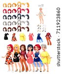 dresses and hairstyles game.... | Shutterstock .eps vector #711923860
