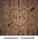 happy valentine's day card.... | Shutterstock .eps vector #711944428