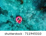 top view of adorable little... | Shutterstock . vector #711945310