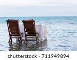 romantic luxury dinner setting... | Shutterstock . vector #711949894