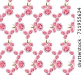 watercolor pink roses and green ... | Shutterstock . vector #711955624