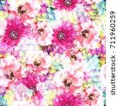 seamless pattern floral design. ... | Shutterstock . vector #711960259