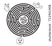 circular halloween maze for... | Shutterstock .eps vector #711961408