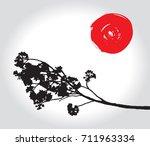 full bloom sakura flower... | Shutterstock .eps vector #711963334