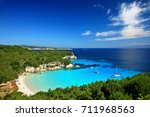 the exotic voutoumi beach ... | Shutterstock . vector #711968563
