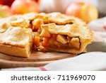 homemade apple pie. | Shutterstock . vector #711969070