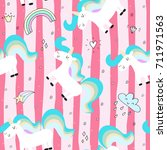 cute hand drawn unicorn vector... | Shutterstock .eps vector #711971563