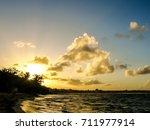 beautiful sunset over the sea... | Shutterstock . vector #711977914