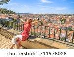 lisbon views of popular sao...   Shutterstock . vector #711978028
