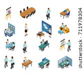 isometric business people icons ... | Shutterstock . vector #711978304