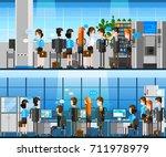 cartoon office people indoor... | Shutterstock . vector #711978979