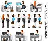 office people flat cartoon... | Shutterstock . vector #711979324