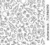 vector seamless pattern with... | Shutterstock .eps vector #711986590