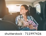 happy family on a road trip in... | Shutterstock . vector #711997426