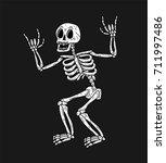 skeleton with rock sign white...   Shutterstock .eps vector #711997486