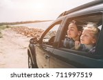 happy family on a road trip in... | Shutterstock . vector #711997519