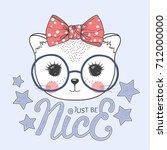 cute baby cat girl. just be... | Shutterstock .eps vector #712000000