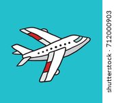 small white cartoon airplane on ... | Shutterstock .eps vector #712000903