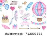 watercolor happy birthday party ... | Shutterstock . vector #712003936