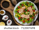 salad with tomatoes sweet... | Shutterstock . vector #712007698