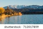 Woerthersee in Klagenfurt and Karawanken mountains in background.Austria.