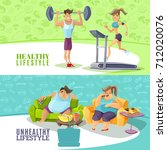healthy and unhealthy people... | Shutterstock . vector #712020076