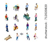 isometric people icons set... | Shutterstock . vector #712020820