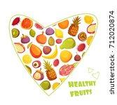 healthy fruits diet... | Shutterstock . vector #712020874