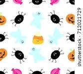 seamless tiling halloween... | Shutterstock .eps vector #712021729