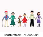 happy friendly family... | Shutterstock .eps vector #712023004